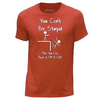 STUFF4 Men's Round Neck T-Shirt/Funny You Can't Fix Stupid/Orange