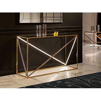 Schuller Moonlight - Table console avec lumière LED intégrée, en acier inoxydable poli, avec placage doré. Haut en verre trempé de 12 mm. bande lumineuse LED cachée par le diffuseur en polycarbonate blanc. 20W LED stripe, 3000 K, 326 lm. G type plug. - 685497 Royaume-Uni