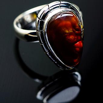 Mexican Fire Agate Ring Size 8.25 (925 Sterling Silver)  - Handmade Boho Vintage Jewelry RING997627