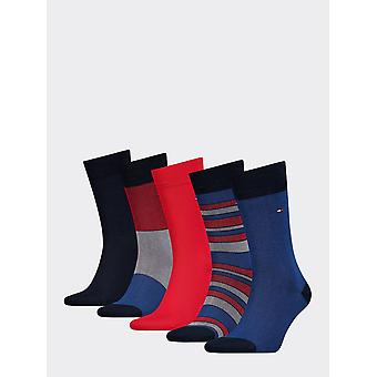 Tommy hilfiger men's 5 pack stripe socks bird's eye print gift box