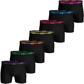 Bjorn Borg 7-Pack Neon Logo Block Boxer Trunks, Black