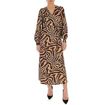 Ganni F4514185 Women's Brown Cotton Dress