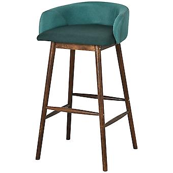 HOMCOM Modern Tub Seat Bar Stool w/ Oak Wood Frame Padded Plush Upholstery Home Comfortable Seating Cafe Restaurant Commercial Wide Soft Green