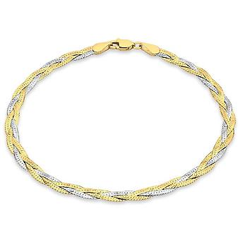 KJ Beckett Plait mönstrad fiskbensmönstrad armband - gul Guld/Silver