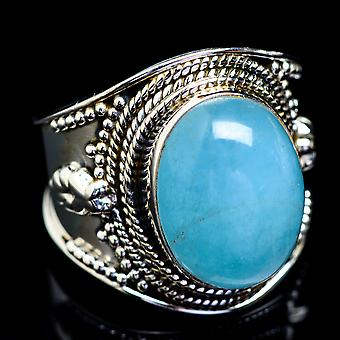 Natural Aquamarine Ring Size 8.75 (925 Sterling Silver)  - Handmade Boho Vintage Jewelry RING4871
