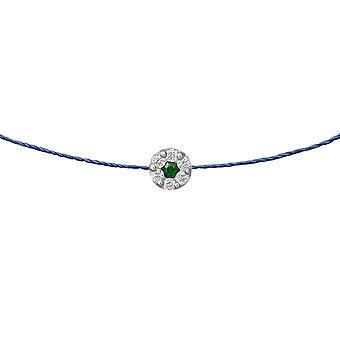 Choker Duchess Emerald 18K Goud en Diamanten, op Thread - Wit Goud, BluePetrol