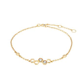Honeycomb Inspired White Topaz Link Bracelet in 9ct Yellow Gold 135L0305039