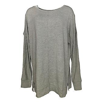 Belle Kim Gravel Women's Sweater Tunic Style Gray A344223