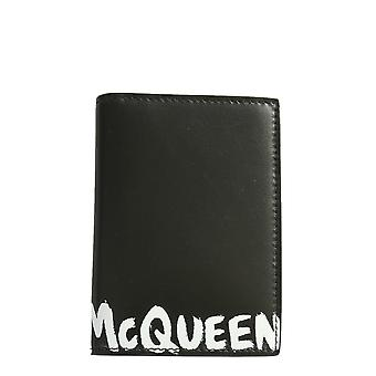 Alexander Mcqueen 6255231nt0b1070 Men's Black Leather Wallet