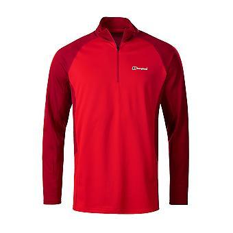 Berghaus Tech 2.0 1/2 Zip Mens Long Sleeve Base Outdoor T-Shirt Red