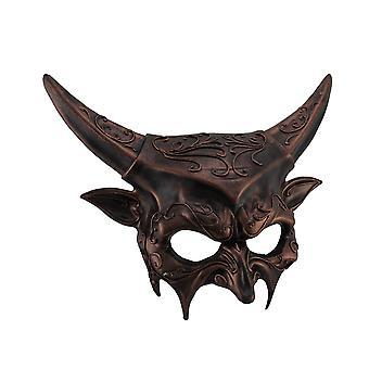 Malet Plastic Metallic Horned Demon Goat Man Half Face Mask Voksen Djævelen Maskerade Kostume