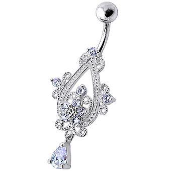 Sterling Silver Dangling Jeweled Banana Bar Navel Ring