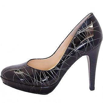 Peter Kaiser Nixe High Heel Court Shoes In Black And Silver Patent
