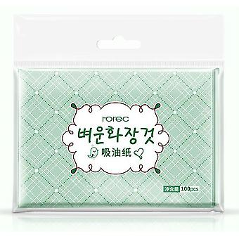 Té verde aceite facial hojas de papel utilizado para limpiar el aceite de la cara - herramienta de maquillaje de belleza