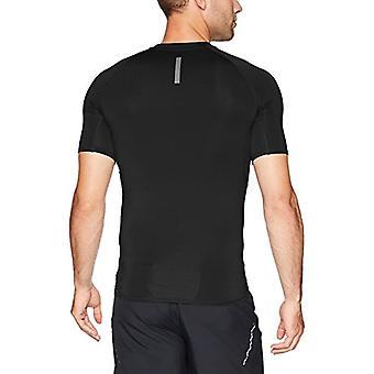 Peak Velocity Men's Sync 'Build Your Own' Compression-Fit Run Shirt (Crew, Mock, Sleeve-length), black/black, Large