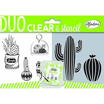 Aladine Duo Clear Stamps & Cactus au pochoir