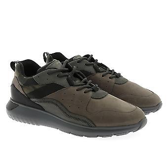 Hogan män's sneakers i nubuck läder och militärt tyg