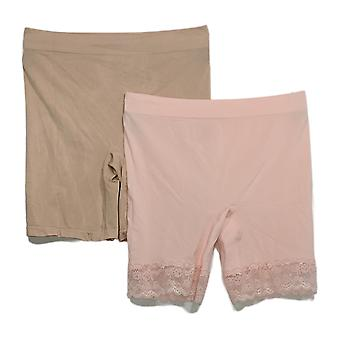 Breezies Panties Seamless Smoothing Mid-Thigh Short Set Pink A374503