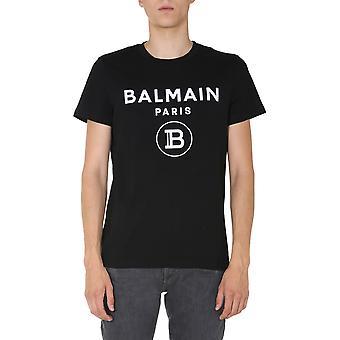 Balmain Uh01601i3940pa Hombres's camiseta de algodón negro
