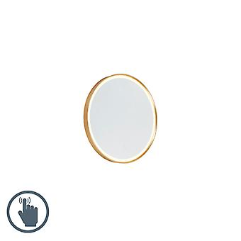 QAZQA Round bathroom mirror gold incl. LED with touch dimmer - Miral
