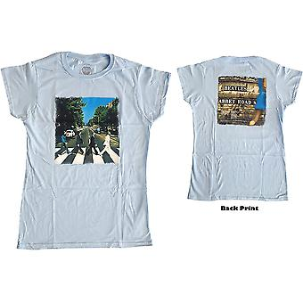 Ladies The Beatles Blue Abbey Road Official Tee T-Shirt Female