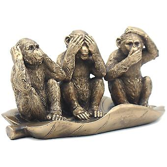 Reflections Bronzed 3 Wise Monkeys On Leave Ornament