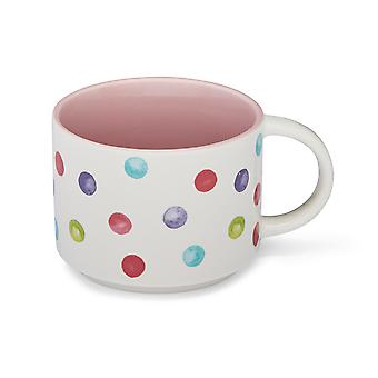 Cooksmart Spotty Dotty Stacking Mug, Pink