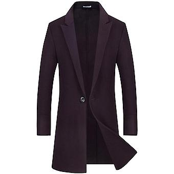 Men's Business Premium Wool Trench Coat Slim Fit Quilted Lining Quality Overcoat Long Pea Coat