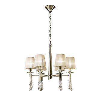 Ceiling Pendant 6+6 Light E14+G9, Antique Brass with Soft Bronze Shades & Clear Crystal