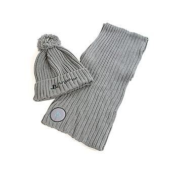 Playstation Oficial Silver Beanie & Scarf Gift Set