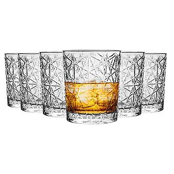 Bormioli Rocco Lounge Diamond Cut Double Old Fashioned Tumbler Glasses Set - 370ml - Pack of 6