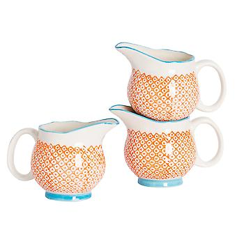 Nicola Spring 3 Piece Hand-Printed Milk Jug Set - Japanese Style Porcelain Cream Gravy Boat - Orange - 300ml