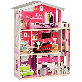 Puppenhaus aus Holz - mit Möbeln und Accessoires - 3 Etagen
