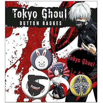 Tokyo Ghoul Buttonset Mix  4 Buttons (25mm) + 2 Buttons (32mm) aus Metall, in Blisterverpackung.