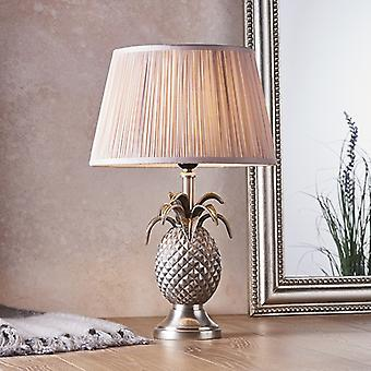 Endon Beleuchtung Ananas & Freya - Tischlampe Zinn Platte & Dusky rosa Seide 1 Licht IP20 - E27