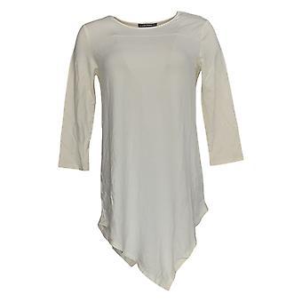 Lisa Rinna Collection Women's Top 3/4 Sleeve Asymmetric Hem Ivory A289012
