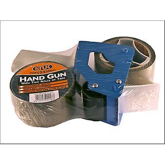 STUK Professional Packing Tape Handgun with 2 Rolls PPTD2T
