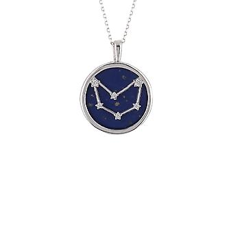 Zodiac Lapis Blue Gemstone Star Pendant Necklace Silver Capricorn