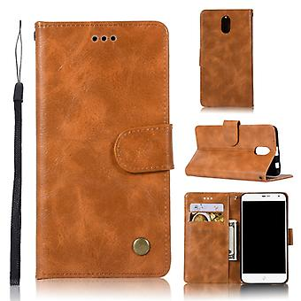 For Lenovo Vibe P1M Retro Copper Button Crazy Horse Horizontal Flip PU Leather Case with Holder & Card Slots & Wallet & Lanyard(Gold Yellow)