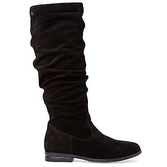 Tamaris Black Boots In Soft Curled Suede