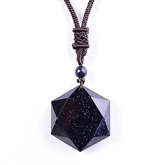 Black Obsidian Six Awn Star Pendant Necklace