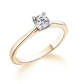 9K Yellow Gold Tapered Cathedral 4 Prong Setting 0.25Ct Certified Solitaire Diamond Engagement Ring