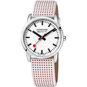 Mondaine Simply Elegant Quartz White Dial Polka Dot Leather Strap Ladies Watch A400.30351.11SBA