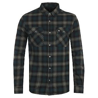 True Religion Triple Needle Plaid Green Shirt