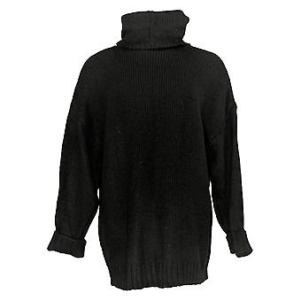 G.I.L.I. Women's Sweater Long Sleeve Oversized Turtle Neck Black A389995
