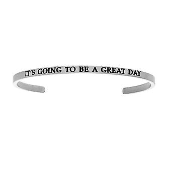 """Intuitions Stainless Steel IT'S GOING TO BE A GREAT DAY Diamond Accent Cuff  Bangle Bracelet, 7"""""""