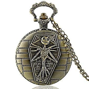 Antique Bronze Quartz Pocket Watch Classic Pendant Necklace