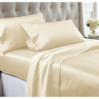 Nantes 4 Piece Wrinkle Resistant Queen Size Satin Sheet Set The Urban Port, Cream