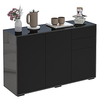 HOMCOM High Gloss Sideboard, Side Cabinet, Push-Open Design with 2 Drawer for Living Room, Bedroom, Black