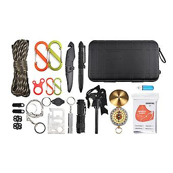 17 in 1 multifunctionele tools waterdichte survival tactische box zaklamp kompas Tourniquet Whistl
